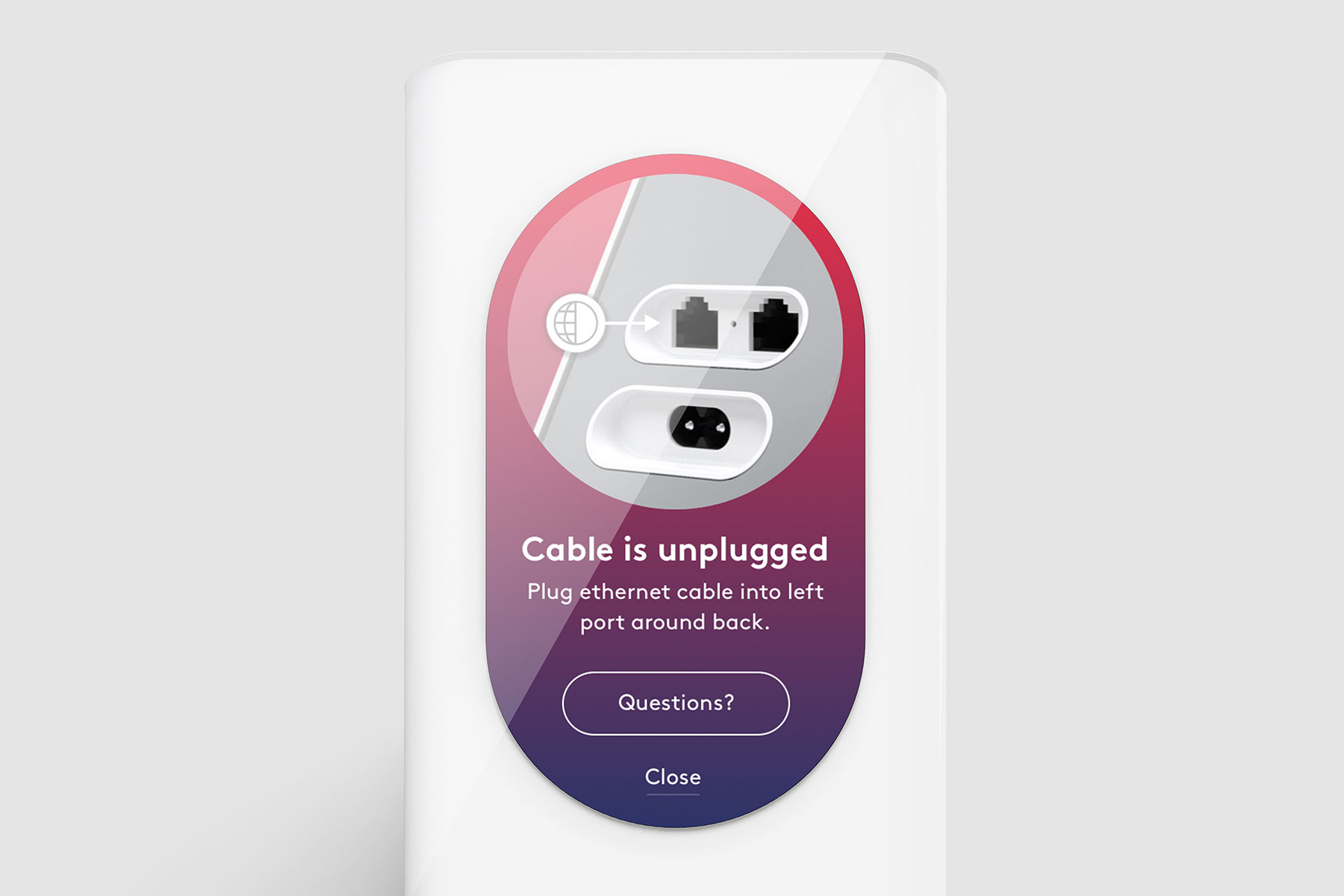 cable unplugged UI notification